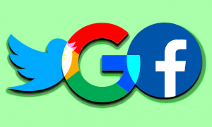 Facebook, Twitter, and Google logos