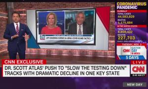 """CNN analyst John Avlon in front of a fullscreen graphic showing Fox News footage. Chyron reads """"Dr. Scott Atlas' push to 'slow the testing down' tracks with dramatic decline in one key state"""""""
