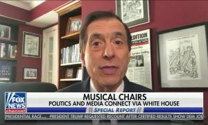 """chyron reads, """"POLITICS AND MEDIA CONNECT VIA WHITE HOUSE"""""""
