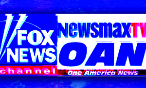 Logos for Fox News, Newsmax, and One America News Network