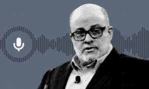 Mark Levin from shoulders up, colorized gray with illustrated gray soundwaves and microphone icon