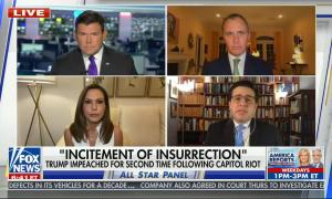 chyron reads: Incitement of insurrection Trump impeached for second time following capitol riot