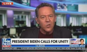 """Greg Gutfeld in maroon shirt, speaks to audience; chyron says """"President Biden calls for unity"""""""