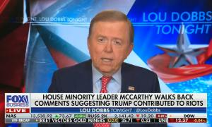 chyron reads: House minority leader McCarthy walks back comments suggesting Trump contributed to riots
