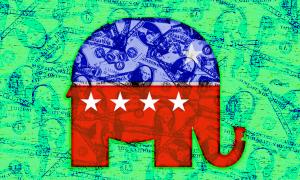 A Republican logo with dollar bills overlaid on it