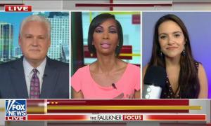 Conservative commentator Matt Schlapp and progressive author Nomiki Konst on either side of Fox anchor Harris Faulkner