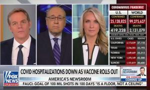 "Left to right: Fox anchor Bill Hemmer, Fox senior medical contributor Dr. Marc Siegel, Fox anchor Dana Perino, and a frame showing current US and worldwide COVID-19 statistics. Chyron reads ""COVID hospitalizations down as vaccines roll out"""
