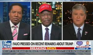 """chyron reads, """"FAUCI PRESSED ON RECENT REMARKS ABOUT TRUMP"""""""
