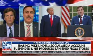 chryon reads: Erasing Mike Lindell: Social media account suspended & his products banished from stores