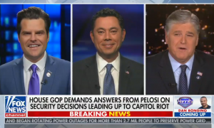 Screencap of Hannity, Chaffetz, Gaetz