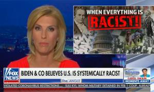 """Laura Ingraham and Dinesh D'Souza appear on Fox news, chyron reads: """"The left's attempt to silence all Trump supporters"""""""