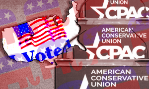 """The CPAC logo, the Republican Party logo, and an """"I voted"""" sticker"""