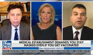 """chyron reads, """"MEDICAL ESTABLISHMENT DEMANDS YOU STAY MASKED EVEN IF YOU GET VACCINATED"""""""