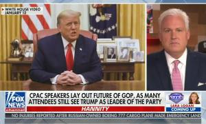 Matt Schlapp and graphic of Donald Trump share screen, chyron reads: CPAC speakers lay out future of GOP as many attendees still see Trump as leader of the party