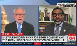 """chyron reads, """"MULTIPLE MINORITY PICKS FOR BIDEN'S CABINET AND TOP ADMIN JOBS FACING OPPOSITION ON CAPITOL HILL"""""""