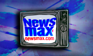 Newsmax logo on an old TV