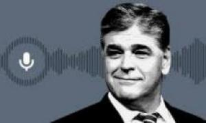 Sean Hannity with audio waves in the background