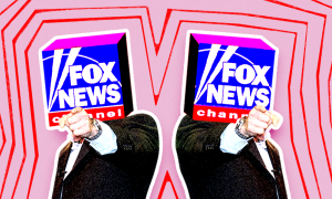 Two Fox News logos pointing