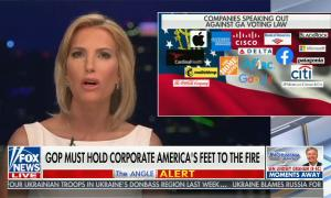 """chyron reads, """"GOP MUST HOLD CORPORATE AMERICA'S FEET TO THE FIRE"""""""