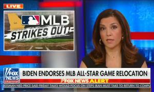 """Rachel Campos-Duffy addresses camera with picture of MLB logo above the words """"strikeout"""" in the corner; chyron reads, """"Biden endorses MLB all star game relocation"""""""