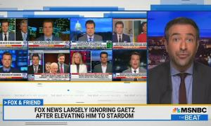 "Screen grabs of Matt Gaetz being interviewed on multiple Fox shows, chyron reads ""Fox News largely ignoring Gaetz after elevating him to stardom"""