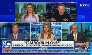 "still of Katie Pavlich, Greg Gutfeld, Sean Duffy, Gillian Turner, Geraldo Rivera; chyron: ""Trafficker-in-chief"" Biden called out over growing migrant surge"