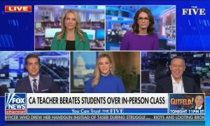 """The Five co-hosts appear on scree, chyron reads """"CA teacher berates students over in person class"""""""
