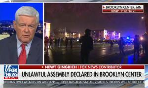"""chyron reads, """"UNLAWFUL ASSEMBLY DECLARED IN BROOKLYN CENTER"""""""