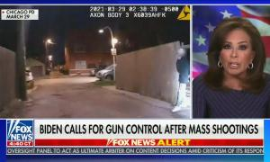 "chyron reads: ""Biden urges Congress to Act on gun control"""