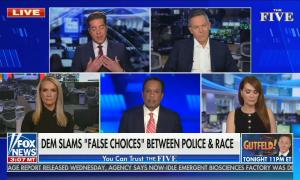 "still of Jesse Watters, Greg Gutfeld, Dana Perino, Juan Williams, Dagen McDowell; chyron: Dem slams ""false choices"" between police & race"
