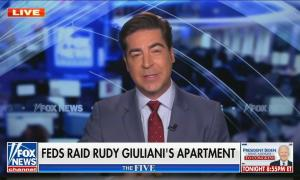 "Jesse Watters addresses camera; chyron reads ""Feds raid Rudy Giuliani's apartment"""