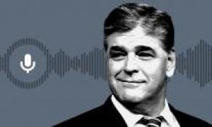 Sean Hannity shoulders-up with sound waves behind him