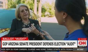 "still of Karen Fann, Kyung Lah, chyron: GOP Arizona senate president defends election ""audit"""