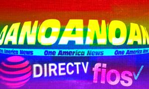 OAN's logo on rainbow background