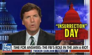 Tucker Carlson addresses the camera, picture in box of corner is of red cartoon Capitol building with word insurrection in quotes above day