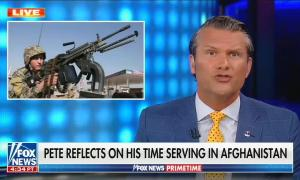 still of Pete Hegseth; image of soldier wielding gun; chyron: Pete reflects on his time serving in Afghanistan