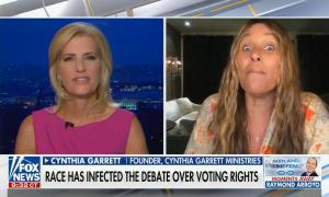 still of Laura Ingraham, Cynthia Garrett; chyron: Race has infected the debate over voting rights