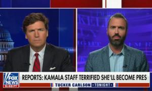 "Tucker Carlson guest calls Vice President Harris ""Willie Brown's bratwurst bun"""