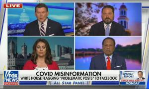 """chyron reads, """"COVID MISINFORMATION: WHITE HOUSE FLAGGING 'PROBLEMATIC POSTS' TO FACEBOOK"""""""