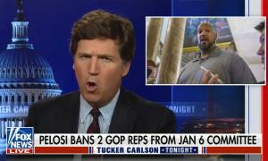 still of Tucker Carlson, image of Harry Dunn; chyron: Pelosi bans 2 GOP reps from Jan 6 committee