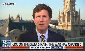"""Tucker addresses camera; chyron says, """"CDC on Delta strain: The war has changed"""""""