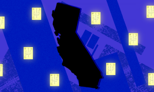 image of the outline of california surrounded by ballots on a purple background
