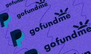 PayPal and GoFundMe Logo on purple background