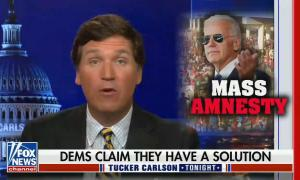 """Tucker Carlson addresses audience; picture in corner of Biden in Aviators with his hand raised and words MASS AMNESTY underneath; chyron reads: """"Dems claim they have a solution"""""""