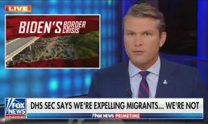 still of Pete Hegseth; graphic of Del Rio bridge titled 'Biden's border crisis'; chyron: DHS Sec says we're expelling migrants... We're not
