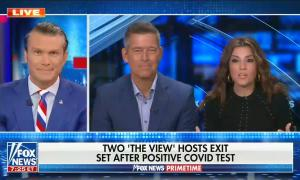 still of Pete Hegseth, Sean Duffy, Rachel-Campos Duffy; chyron: Two 'The View' hosts exit set after positive COVID test