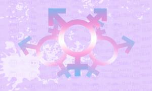 Transgender Symbol filled with the colors of the trans flag (pink, blue, white)