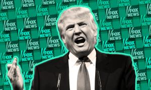 Donald Trump's face superimposed over a background of green Fox News logos.