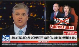 Fox News host Sean Hannity covering Trump's letter to Pelosi