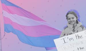 Rebekah Bruesehoff in front of a trans pride flag